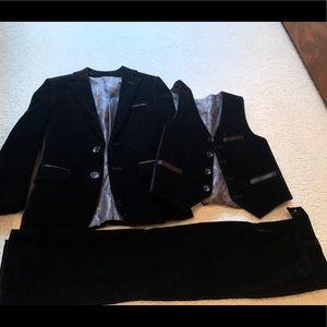 Boys 3 piece black velvet suit